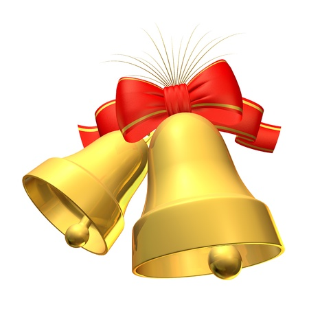 Two bell with a bow on a white background photo