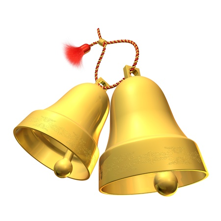 A pair of bells on a rope with a brush photo