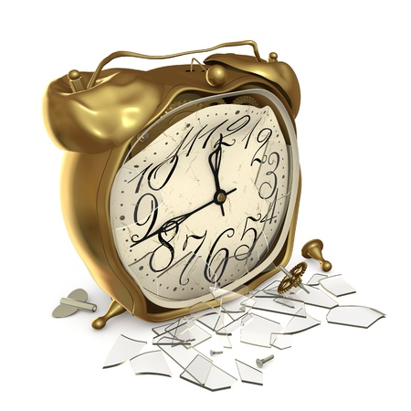 battered: Broken alarm clock with broken glass on a white background Stock Photo