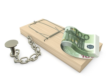 Mousetrap with euro chained to the plane Stock Photo - 16643097