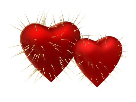 prickles: Two red hearts with prickles on white background Stock Photo
