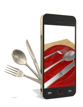 Phone with fork, spoon, table knife on a white background photo