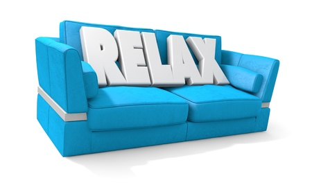 Write Relax sitting in a blue sofa Stock Photo - 16241425