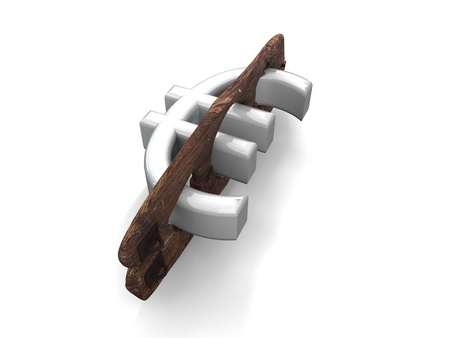 immobilize: Euro symbol put in the pillory, the pillory is made of wood and metal antique