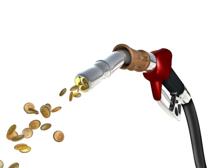 car gas: A fuel pump shoots fuel in the form of gold coins
