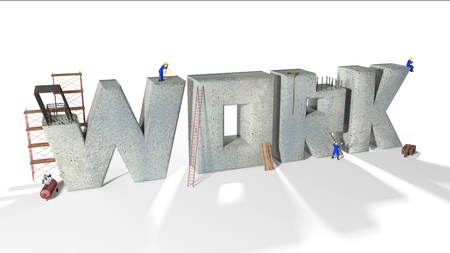 Written work built by various workers and various equipment Stock Photo - 16353005