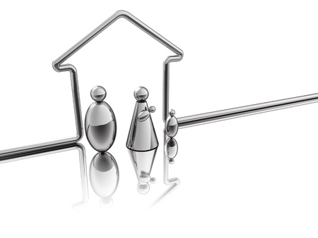 A steel tube designed a house for a family of steel Stock Photo - 16759308