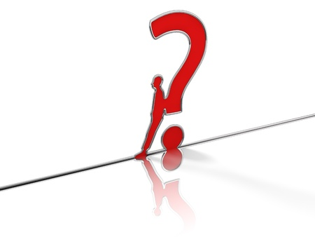 Question mark created by a reflective tube steel Stock Photo - 16844069