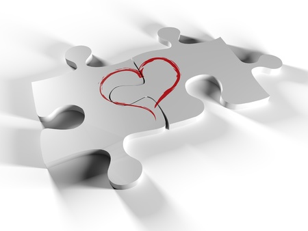Two pieces of the puzzle together to create a heart