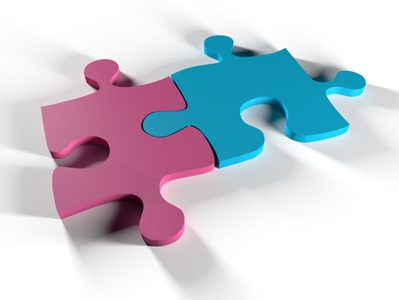 Two puzzle pieces that represent man and woman unite Stock Photo - 17257159