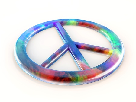 Reflective Peace Sign with white background photo