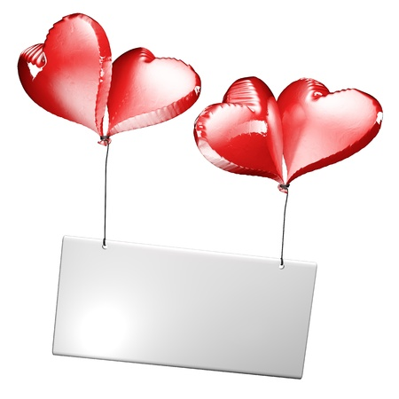 Four heart-shaped balloons support a ticket the background is white Stock Photo - 17288871