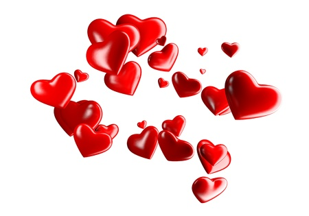 A cloud of reflective hearts of various sizes Stock Photo - 17332295