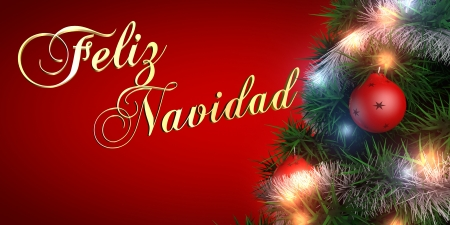 Merry christmas written in Spanish with Christmas tree and decorations Stock Photo - 17332332