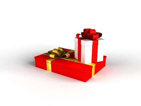 Two gifts with withe background and shadow Stock Photo - 17359424