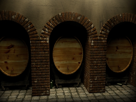 A wine cellar with three barrel and some bottles photo