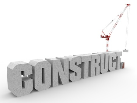 Written constructions mounted by a crane and withe background photo