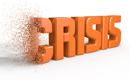 Orange written crisis eroded by a side