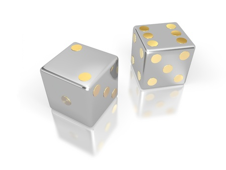 mania: Silver dice with golden points with white background