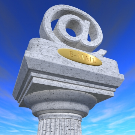 Sculpture of e-mail sign hanging from a column photo