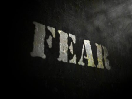 horror face: Write fear created by light and shadow Stock Photo