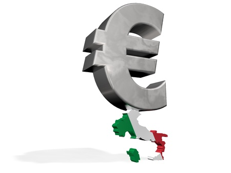 insurmountable: Euro symbol crisis smash a Italy map