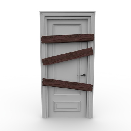 A white wooden Door closes the future