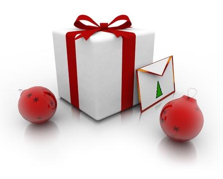 Gift bag and wish next two christmas balls Stock Photo - 17359423