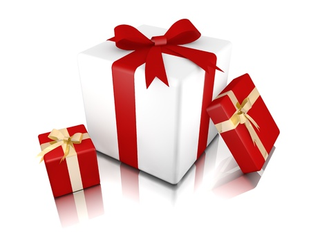 Gift center with two gifts to the sides Stock Photo - 17359425