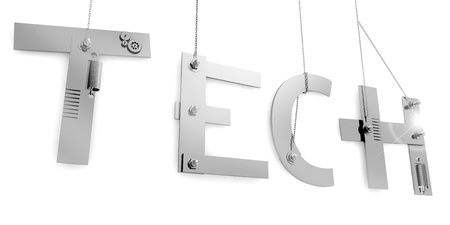 Tech writing consists of pieces of iron and bolts, all held suspended by a chain Stock Photo - 17359417