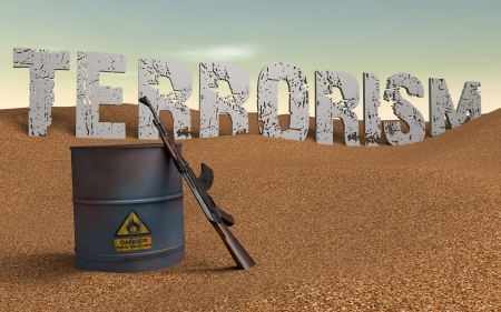 Written terrorism in the background  Barrel of oil and ak 47 front Reklamní fotografie - 17359459