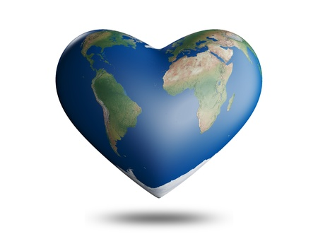 Planet earth in the shape of heart Stock Photo