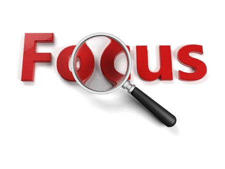 focus on the goal: Written with a focus lens that zooms letters