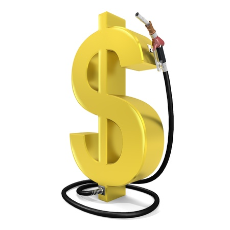 gas pump: A petrol station in the form of golden dollar Stock Photo