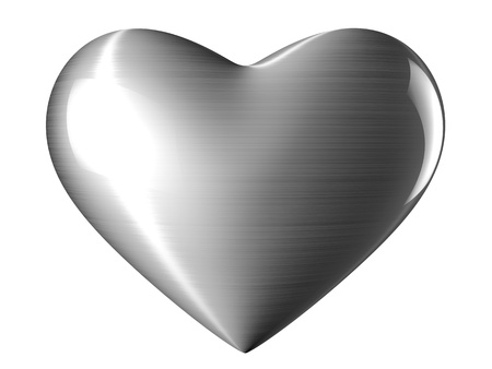A reflective steel heart with white background photo