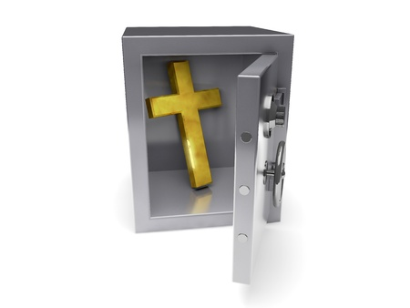 3d temple: A gold cross in a safe reflective metal Stock Photo