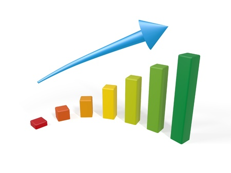 financial performance: Color graph increasing with blue arrow and white background Stock Photo
