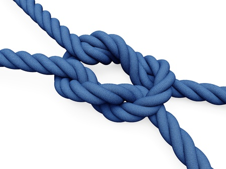 rope knot: Two blue ropes connected by a node with white background Stock Photo