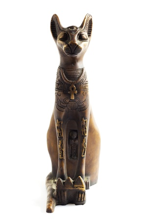 ancient relics: An Egyptian cat with white background Stock Photo