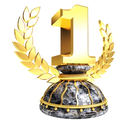 Shiny golden First place trophy with marble base and white background