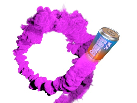 An energy drink hurtling leaving the trail of purple smoke