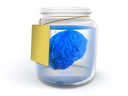 A blue brain inside a glass jar with white background photo