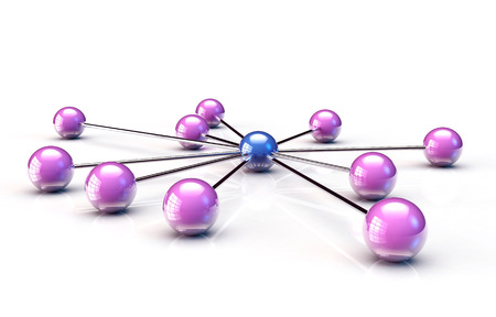 chrome man: Central sphere connected to so many balls, white background Stock Photo