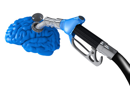 A gasoline pump inserted in a blue human brain