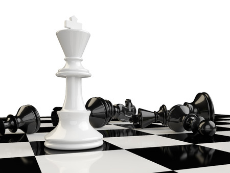 pawn to king: The kings beats all the other pieces of the board and remain the last one standing