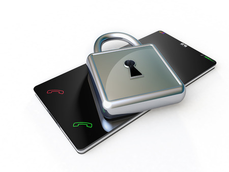Protecting a touch screen phone, by means of a silver padlock placed over