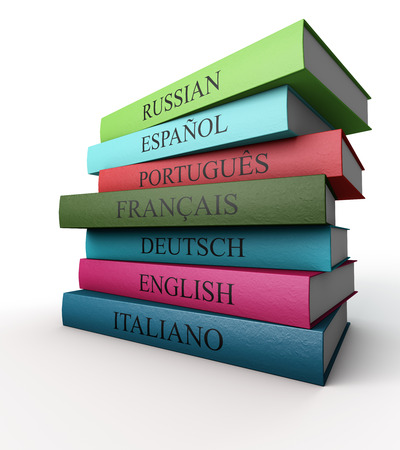 Seven dictionaries each other, Italian, French, Spanish, Portuguese, Russian, German and English