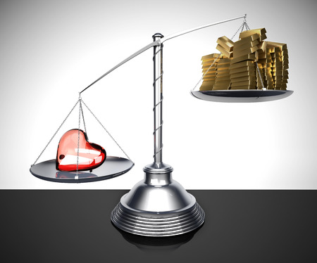 exceeds: Balance with the weight of the glass heart that exceeds that of many gold ingots