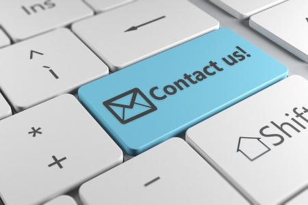 contact information: Contact us directly using a blue button with an elegant keyboard Stock Photo