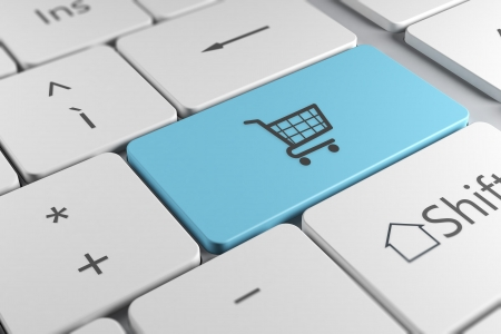 ecommerce icons: Make online purchases directly using a blue button with shopping cart icon in a elegant keyboard